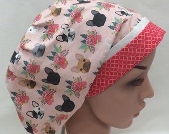 French Bulldog Surgical Scrub Cap, Chemo Cap, Nurse Hat, Scrub Hat, European Bouffant
