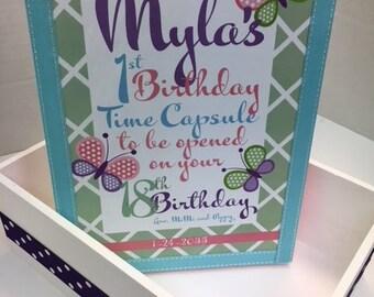 1st Birthday ButterfliesTime Capusule Keepsake box - CUSTOM Designed for Girls