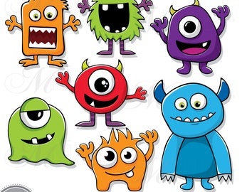 MONSTERS Clip Art | Monster Illustrations Clip Art Downloads | Monsters Party | Digital Downloads | Vector Clipart Downloads
