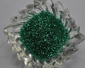 Jade silver lined Green seed beads
