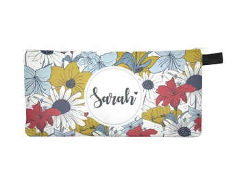 Pencil Case, Pencil Bag, Pencil Pouch, Zipper Pouch, Custom Pencil Case, Small makeup bag, Canvas Pouch, Floral Pencil case, Pen Pouch.