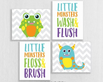 CANVAS Monster Bathroom Decor - Little Monster Bathroom - Wash Brush Floss Flush - Bathroom Rules - Bathroom Art Kids - Bathroom Decor Boy