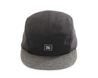 Handmade 5 panel hat - Mikroskop- Real leather patch and real leather strap