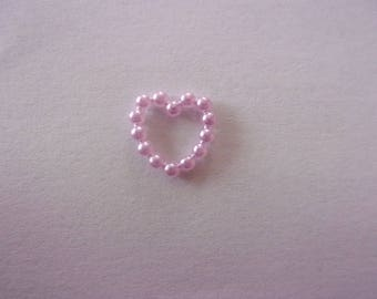 Set of 2 embellishments in the shape of purple heart, acrylic - 10 mm