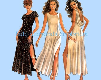 New Look 6222 Sexy Maxi Dress High Side Slit Draped Back Option Womens size 8 10 12 14 16 18 Vintage Sewing Pattern Uncut FF