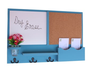 Mail Organizer -  Message Center - Cork Board - White Board -  Coat Rack - Mason Jar - Coat Hooks