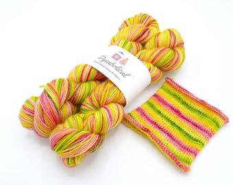 Flamingos on a Croquet Lawn Watercolor Stripes, Self Striping Sock Yarn Corriedale - In Stock