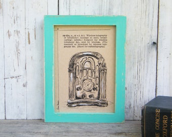 Vintage Style Print, Rustic Wall Art, Antique Radio Print, Dictionary Art, Bedroom Decor, Dorm Decor, Home & Living, Housewarming Gift