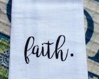 Farmhouse Decor Kitchen Faith Flour Sack Dish Towel Farm Font Chic Floursack Tea Towels - Housewarming Wedding Centerpiece - Christmas Gift