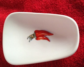 """Ceramic Spoon Rest with Chili Pepper Bunch  5"""" Long and 3 1/2 Inches Wide at Top of Spoon"""