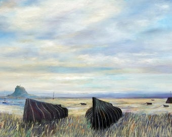 Olde Pals Holy Island of Lindisfarne Upturned Herring Boats .  An antique white mounted print handsigned by the island artist John Tierney
