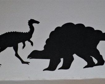 Silhouette Dinosaur Die Cuts x 12 (6 of  each) - Dinosaurs, Reptiles, Birthdays,Boys, Jurassic