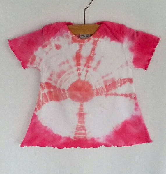 Hand Dyed Tie Dye/Pink Bullseye Design/Infant & Toddler/Eco-Friendly Dying