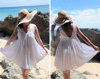 Simple Short Dress, Beach Wear, White Dress with Lace, Summer Dress, Resort Wear, Sleeveless Dress, Mini Dress