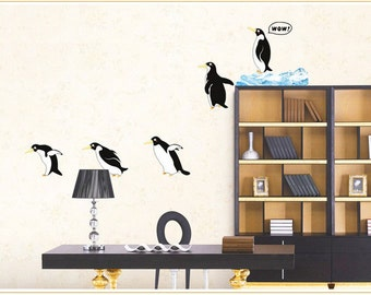 Cute penguin ing Wall Decal - penguin Sticker - penguin wall decals - penguin decor Removable decorative wall stickers bedroom decals  sc 1 st  Etsy & Penguin wall decals | Etsy