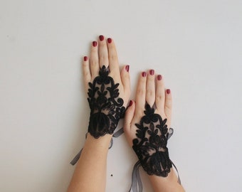Bridal Lace Gloves, Black Wedding Gloves, Bridal Accessories, Fingerless French Lace Gloves, Fingerloop Gloves, French Lace Arm Warmers