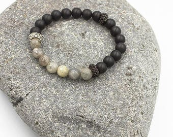 Unique faceted labradorites  and onyx bracelet. Only One Single Copy.