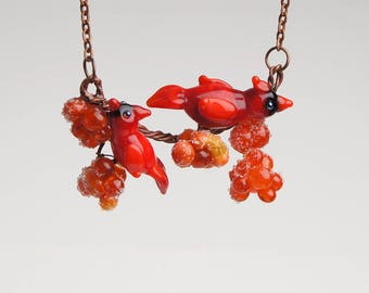 Red cardinal necklace, statement necklace, fashion necklace, bright necklace, designer necklace, red bird necklace, lampwork necklace
