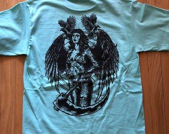 Teal dark angel T-shirt
