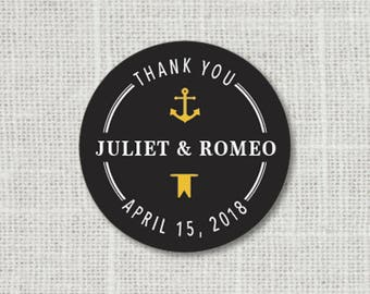 Nautical Thank You Stickers, Anchor Thank You Stickers, Nautical Wedding Label Custom Wedding Stickers for Favors