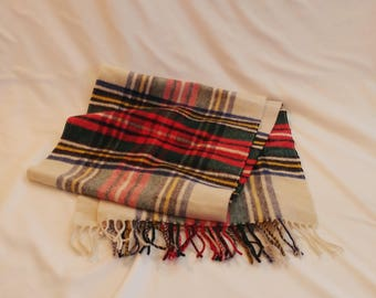 1980s FSA Collection Winter Lambswool Gingham Scarf