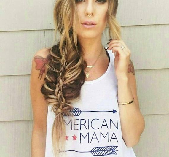 AMERICAN MAMA, White Tank. American Mama Tshirt, USA Tshirt, American Mama Tee