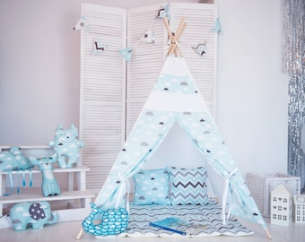 "FREE SHIPPING teepee ""Blue clouds"", kids teepee play tent wigwam, children's teepee, playtent, tipi, wigwam, kids teepee, tent, play teepee"