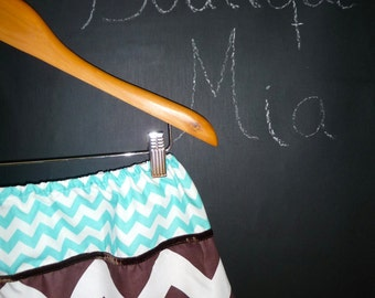A-line SKIRT - Riley Blake - Chocolate Brown and Aqua Chevron - Made in ANY Size - Boutique Mia