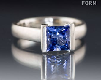 Lab Created Princess Cut Blue Sapphire Modified Tension Solitaire Engagement Ring in Palladium, Platinum or Gold, Blue Sapphire Ring