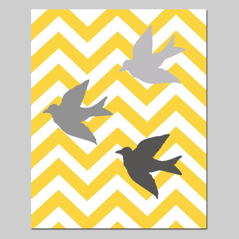 Chevron Birds Nursery Art Print 8x10 Chevron Zig Zag or