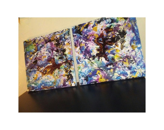 """Featured listing image: Untitled- 14""""×14"""" diptych, fluid acrylic inks, bright colors, abstract inks, fluid inks, acrylic inks on canvas"""