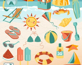 Summer Clip Art - Hand Drawn Summer Clipart, Beach Vector Graphics - INSTANT DOWNLOAD