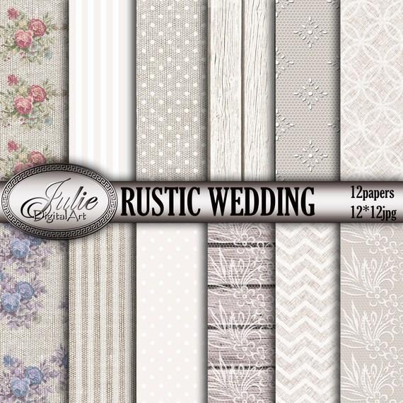 Rustic Wedding Digital Paper Floral Burlap Background Lace Linen Patterns For Invites Instant Download From JulieDigitalArt On Etsy Studio