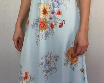Vintage 1960s Blue Floral Dress