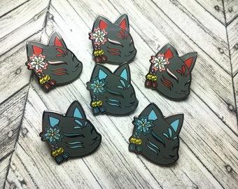 Hard Enamel Kitsune Mask Pin - Dark Variant