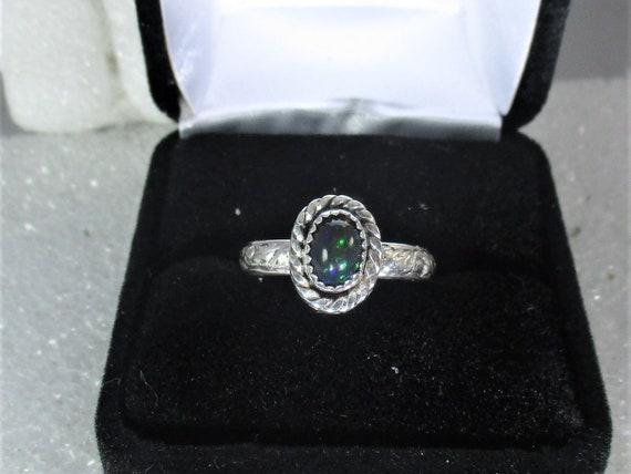 genuine smoked Ethiopian opal gemstone handmaden sterling silver solitaire ring sz 7 1/2   - opal ring - opal jewelry