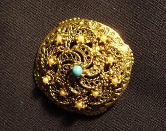 Vintage Gold Filigree Brooch