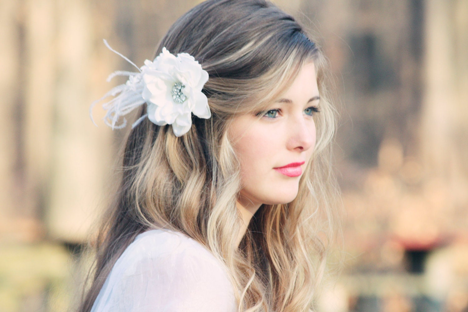 Bridal hair flower fascinator white bridal hair clip wedding zoom mightylinksfo Image collections
