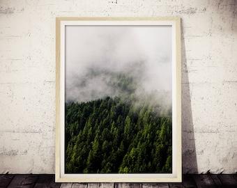 Modern Scandinavian Print, Landscape Photography, Wall Art Decor, Nature Wilderness, Nature Photography, Minimalist Art, Mountain Fog Print
