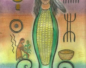 Selu Corn Mother Sacred Spirit Pertoglyph Portrait by Shamanic artist healer, Azurae Windwalker