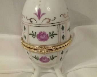 Antique Floral Fabarge Style Keepsake Box/Porcelain Collectible/Small/Decorative/Embellishment/ Simple/Gift/Easter/Victorian Style/Used