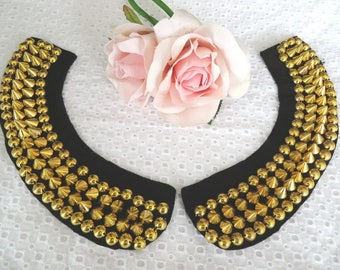 1 Pair of punk style collars, black felt with gold tone studs / spikes