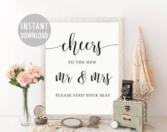 Cheers Wedding Sign, Wedding Escort Cards Sign, Please Find Your Seat Sign, Wedding Place Cards Sign, Printable Rustic Wedding Signage
