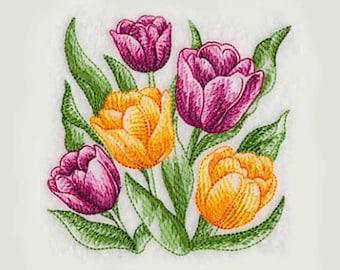 Tulip Blooms Tea Towel | Embroidered Kitchen Towel | Personalized Kitchen Towel | Embroidered Towel | Embroidered Tea Towel | Flower Towel