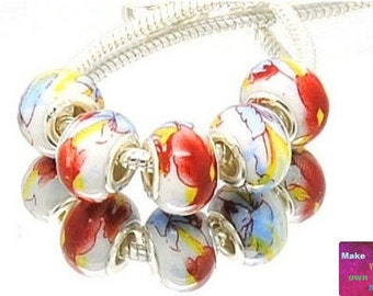 Colorful European Beads, Big Hole Beads, European Bracelet Charms