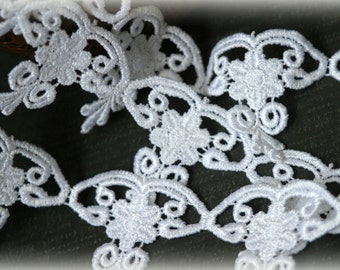 """Tresors  White  Venice Bridal Embroidered Fabric Applique Craft Lace Trim LA-090 10% off """"SUMMER10"""" at checkout"""