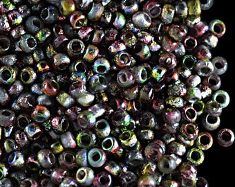 10gr 11/0 Czech Glass Seed Beads Etched,  Crystal Etched Magic Apple (11SBE014)