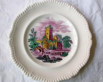 "10.75"" Copeland Spode ABBEY RUINS Purple Transferware Dinner Plate, Hand Painted Highlights (Rare, 1927)"