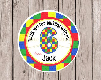 PRINTABLE Building Blocks Favor Tags or Stickers / Personalized with NAME and AGE for Lego Birthday Party / You Print