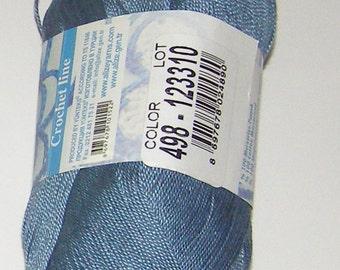 Alize Miss crochet thread size 10, 100% mercerized cotton, #498 blue-gray